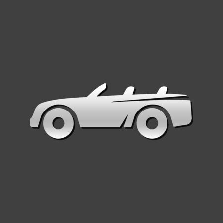 car speed: Sport car icon in metallic grey color style. Luxury speed coupe convertible Illustration