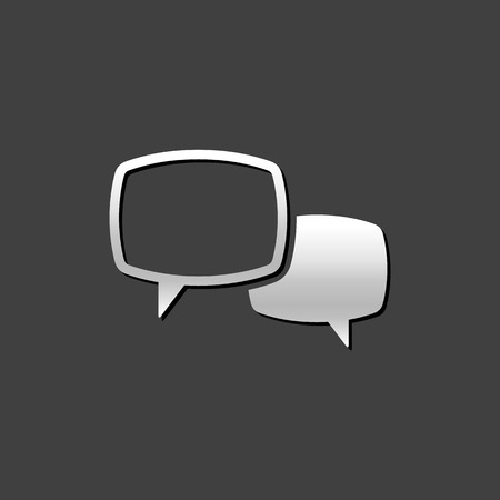 communication: Chat sign icon in metallic grey color style. Communication conversation social media