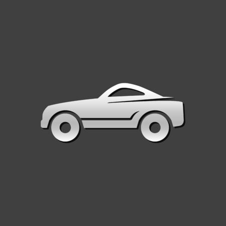car speed: Sport car icon in metallic grey color style.Luxury speed coupe