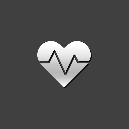 grey: Heart rate icon in metallic grey color style. Human pulse graph