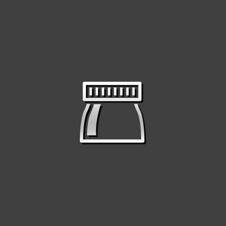 Bottle of ink icon in metallic grey color style. Illustration