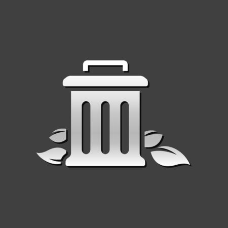 leaf: Trash bin icon in metallic grey color style.