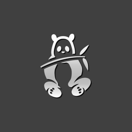 mammal: Panda icon in metallic grey color style. Mammal china zoo