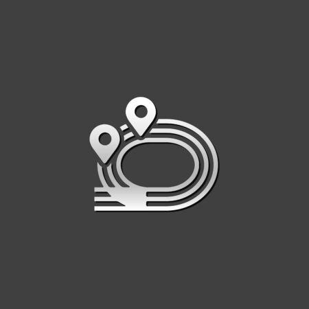금속 회색 색상 스타일의 필드 아이콘 Sprinting. 체육 경쟁 스포츠