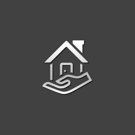 grey: Property care icon in metallic grey color style. House human hand palm