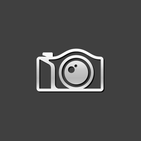 photo: Camera icon in metallic grey color style. Photography mirror less digital