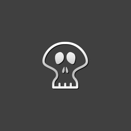 shiny metal: Skeleton icon in metallic grey color style.Skull Halloween decoration Illustration