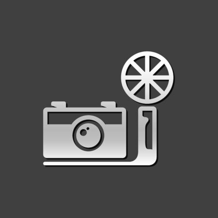 shiny metal: Vintage camera icon in metallic grey color style. Photography picture imaging analog