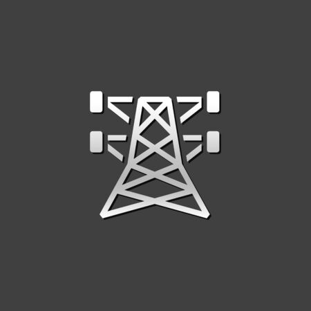 post: Pylon icon in metallic grey color style. Electricity high voltage Illustration
