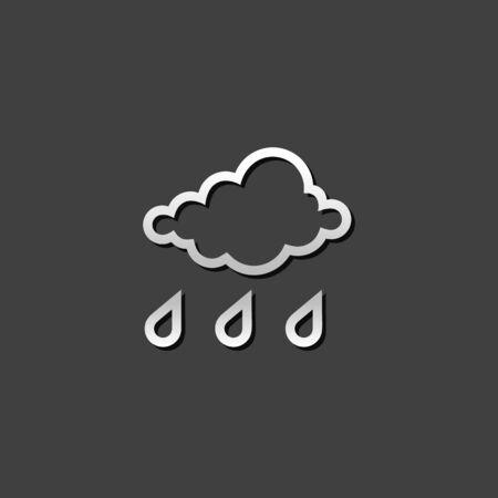 Rainy icon in metallic grey color style. Season forecast monsoon wet