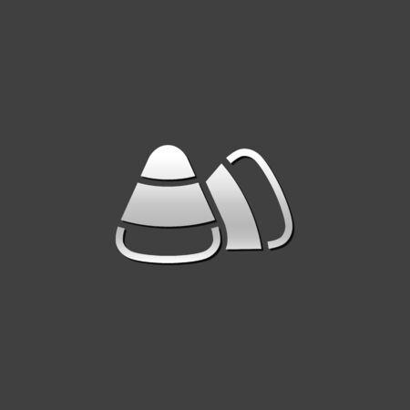 grey: Candy icon in metallic grey color style. Food Halloween sugar sweet Illustration