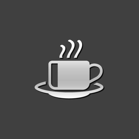 Coffee cup icon in metallic grey color style. Food beverage hot espresso Illustration