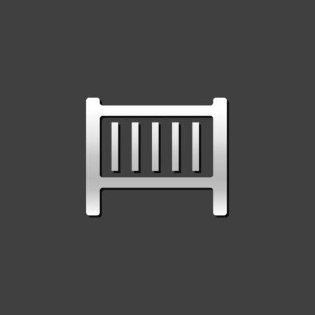 bedroom bed: Baby bed icon in metallic grey color style. Furniture bedroom sleep