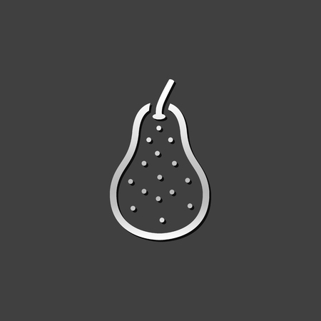 shiny metal: Pear icon in metallic grey color style. Food fruit vitamin healthy
