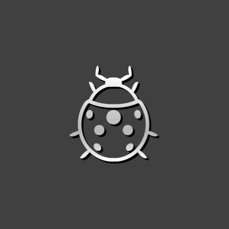 Bug icon in metallic grey color style. Insects, computer virus
