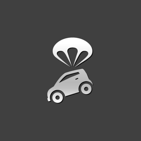 Car and umbrella icon in metallic grey color style. Insurance protection