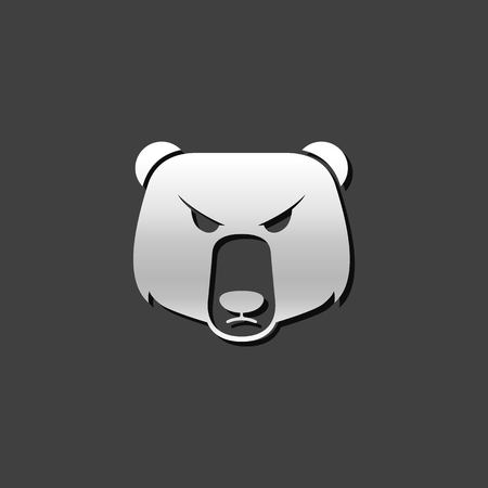 Bear icon in metallic grey color style. Finance speculation trend Illustration