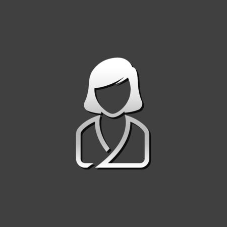 people relaxing: Woman spa client icon in metallic grey color style. Illustration