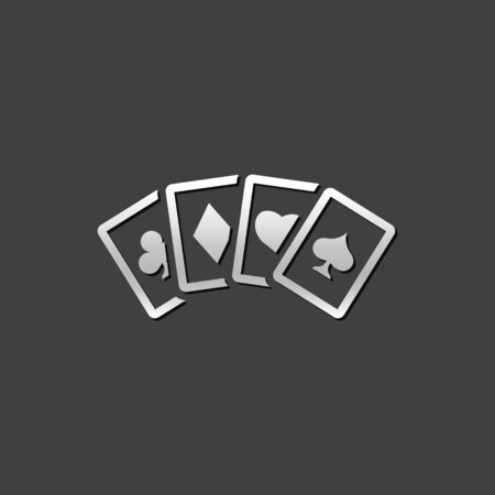 shiny metal: Playing cards icon in metallic grey color style. Game gambling leisure Illustration
