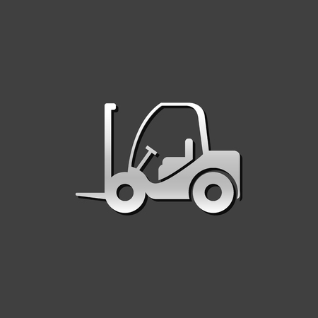 Forklift icon in metallic grey color style. Industrial vehicle warehouse