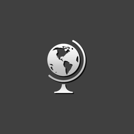 shiny metal: Globe icon in metallic grey color style. Earth map education school Illustration