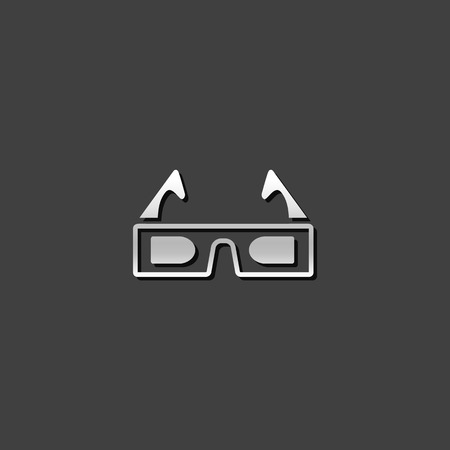 grey: 3D glasses icon in metallic grey color style. Object entertainment three dimensional Illustration