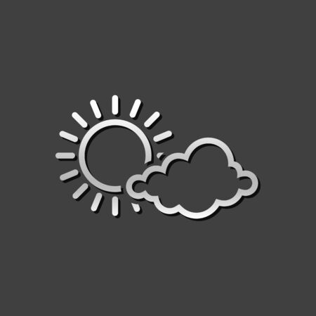 Weather forecast partly sunny icon in metallic grey color style. Meteorology overcast