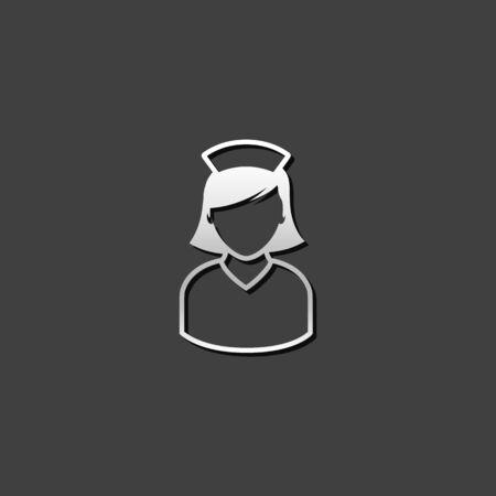 jobs people: Nurse icon in metallic grey color style. Medical healthcare Illustration