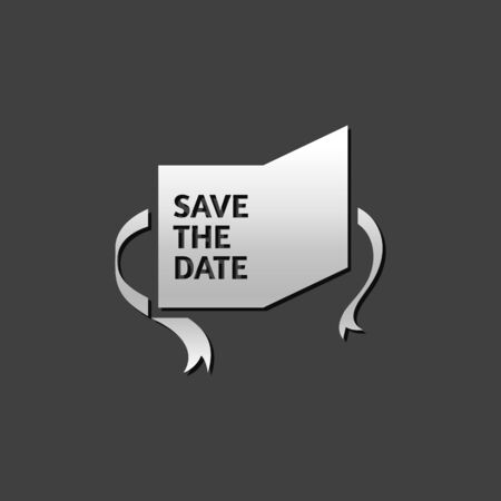 civil partnership: Wedding card icon in metallic grey color style. Save the date