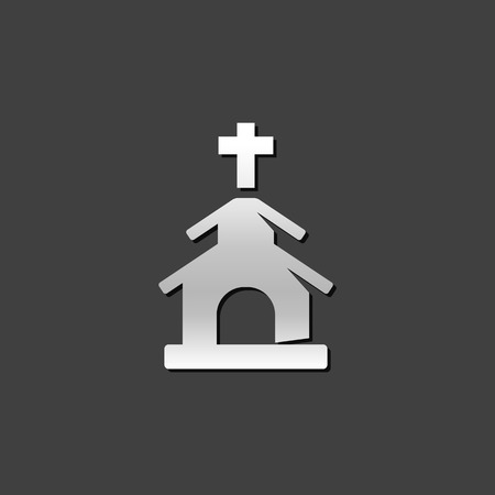 reverse: Church icon in metallic grey color style. Christian chapel synagogue Illustration