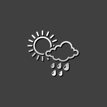 Weather overcast partly rain icon in metallic grey color style. forecast raining season monsoon