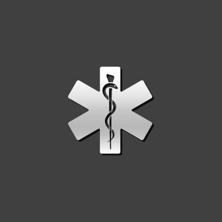 shiny metal: Medical symbol icon in metallic grey color style. Illustration