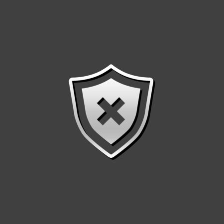 shiny metal: Shield icon in metallic grey color style. Protection computer antivirus