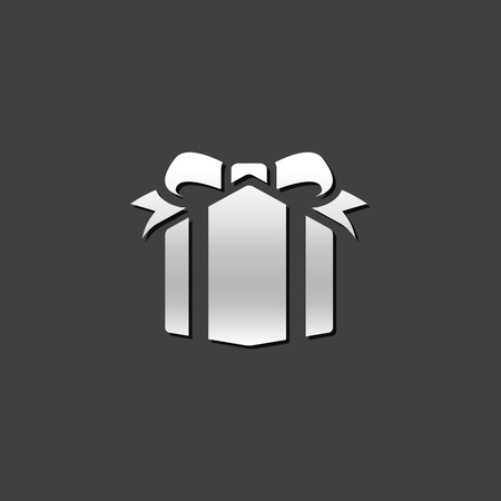 shiny metal: Gift box icon in metallic grey color style. Present birthday Christmas holiday Illustration