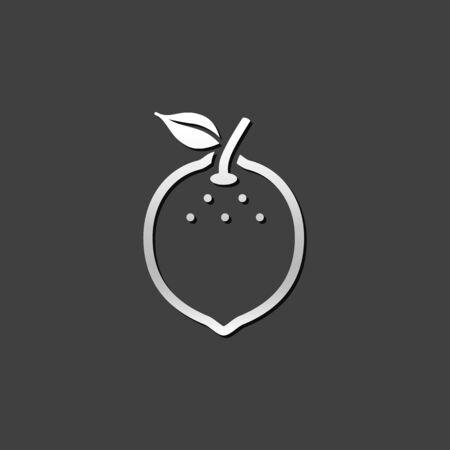 diet food: Lemon icon in metallic grey color style. Food fruit vitamin healthy diet