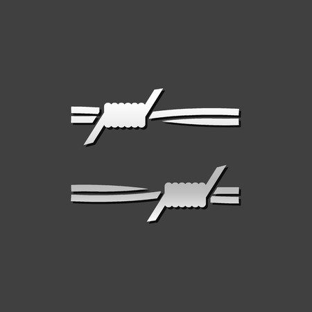 jail: Barbed wire icon in metallic grey color style. Protection war danger sharp