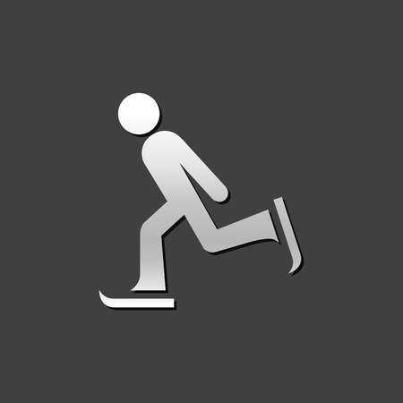 Ice skating icon in metallic grey color style. Winter sport