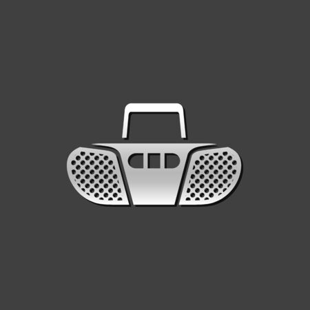 music player: Cassette player icon in metallic grey color style. Music audio stereo