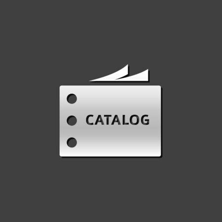 shiny metal: Catalog icon in metallic grey color style.