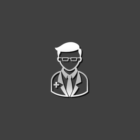 medical practitioner: Doctor icon in metallic grey color style. Medical practitioner healthcare