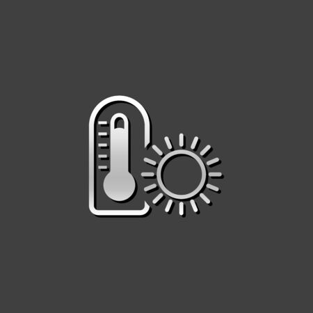 grey: Thermometer icon in metallic grey color style.nature temperature snow winter