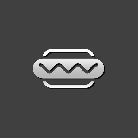 junk: Hot dog icon in metallic grey color style. Fast food junk American