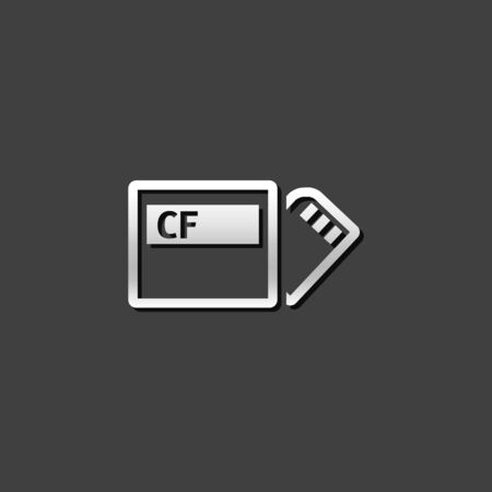 electronic: Compact flash and SD card icon in metallic grey color style. Computer photography storage