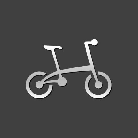 foldable: Bicycle icon in metallic grey color style. Sport cycling folding