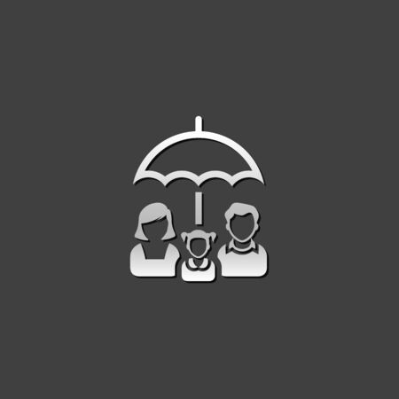 metallic: Family umbrella icon in metallic grey color style. Insurance protection safety