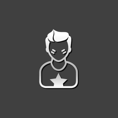 Football fans avatar icon in metallic grey color style. Sport spectator fans
