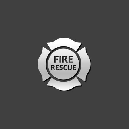 rescue dog: Firefighter emblem icon in metallic grey color style. Service fireman coat of arms
