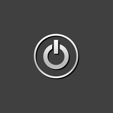 shiny metal: Power button icon in metallic grey color style. Electronic electric switch Illustration