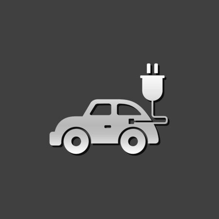 green environment: Electric car icon in metallic grey color style. Vehicle environment Illustration