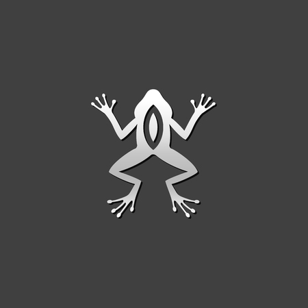 grey: Lab frog icon in metallic grey color style. School experiment biology Illustration